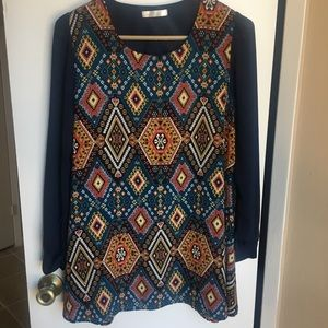 Lila Clothing Blue and Aztec Multi-Color Print